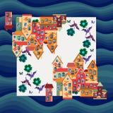 Stadt durch das Meer Silk Halsschal oder Bandanadruck Lizenzfreie Stockbilder