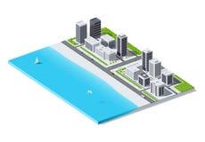 Stadt durch den Ozean Isometrische niedrige Polyillustration Stockfoto