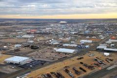 Stadt Edmonton vom Flugzeug Lizenzfreie Stockfotos