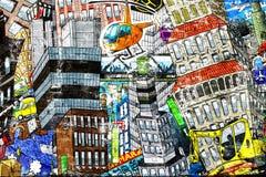 Stadt, eine Illustration einer großen Collage Lizenzfreies Stockbild