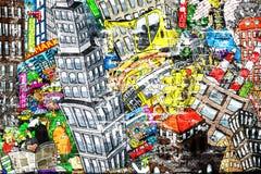 Stadt, eine Illustration einer großen Collage Stockfotos