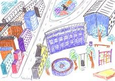 Stadt farbige Zeichnung, Konzept stock abbildung