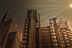Stadt finical Bereichs Londons mit drastischer Sonne Stockfotos