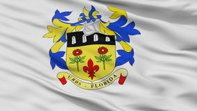 Stadt-Flagge Quatre Bornes, Mauritius, Nahaufnahme-Ansicht Lizenzfreie Stockfotos
