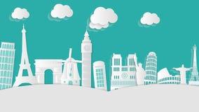 Stadt-Gebäude Europa-in der Videobewegungs-Grafik-Animations-Hintergrund-Schleife HD stock abbildung