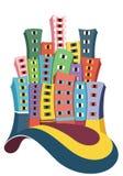 Stadt-Gebäudeillustration lizenzfreie abbildung