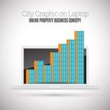 Stadt-Grafik auf Laptop Stockfotografie