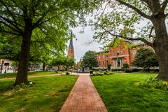 Stadt Hall Court House in im Stadtzentrum gelegenem historischem Federick, Maryland Lizenzfreie Stockfotos