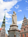 Stadt Hall Square, die Statue von Roland riga lettland stockfotografie