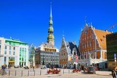 Stadt Hall Square Latvian Ratslaukums ist eine des zentralen squ stockbilder