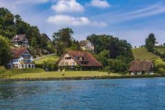 Stadt Hertenstein auf Lucerne See Lizenzfreies Stockbild