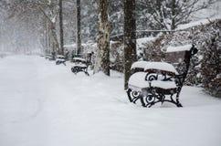 Stadt im Schnee stockfoto