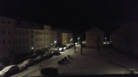 Stadt im Schnee Stockfotos