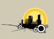 Stadt im Sonnenaufgang. Vektorkunst Lizenzfreies Stockbild