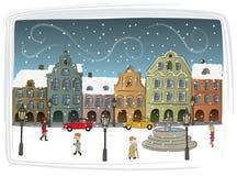 Stadt im Winter Lizenzfreie Stockfotos