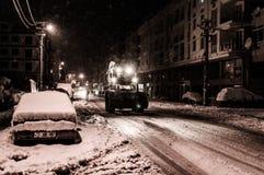 Stadt im Winter-Schnee Stockfotos