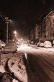 Stadt im Winter-Schnee Lizenzfreie Stockfotos