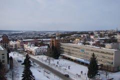 Stadt Kamyanets - Podilsky in West-Ukraine an einem sonnigen Tag für Weihnachten Neues Teil Lizenzfreies Stockbild