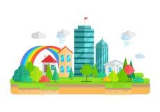 Stadt-Landschaft in der Ebene Lizenzfreie Stockbilder