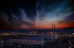 Stadt-Landschaft nachts Stockfotografie