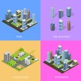 Stadt-Landschaftsbau-Gebäude-Plakat-Karten-Satz-isometrische Ansicht Vektor stock abbildung