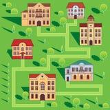 Stadt mit bunten Häusern Nahtloses Muster Vektor-Karikatur-Illustration auf einem grünen Hintergrund Lizenzfreies Stockbild