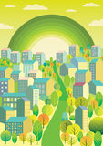 Stadt mit einem grünen Regenbogen