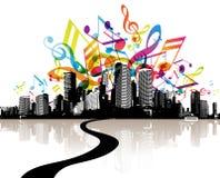 Stadt mit farbigen Melodien. Stockfotos