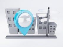 Stadt mit Karte Zeigern gps-Konzept Lizenzfreie Stockfotografie