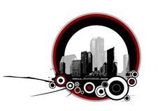 Stadt mit Kreisen. Vektor Lizenzfreie Stockfotos