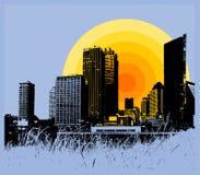 Stadt mit Sonnenuntergang. Vektor. Lizenzfreie Stockfotos