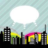 Stadt mit Spracheballon lizenzfreie abbildung