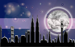 Stadt-Mond-Lichtstrahl Stockfotos