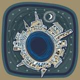 Stadt nachts lizenzfreie abbildung