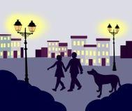 Stadt nachts. lizenzfreie abbildung