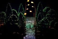 Stadt nachts im dichten Nebel Starker Smog auf einer dunklen Straße Schattenbilder des Mannes auf Straße Die Serviette auf der Pl stockfoto