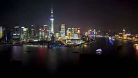 Stadt-Nachtszene Shanghais Lujiazui stock video footage