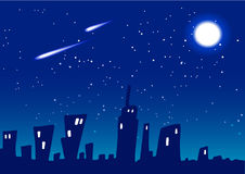 Stadt-Nachtvektor Lizenzfreie Stockfotos