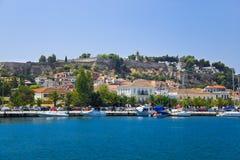 Stadt Nafplion und Schloss, Griechenland stockbilder