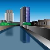 Stadt nahe dem Wasser Stockbild