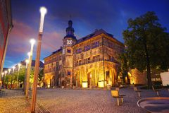 Stadt Nordhausen Rathaus with Roland figure in Germany. Stadt Nordhausen Rathaus sunset city hall with Roland figure in Thuringia Germany Royalty Free Stock Image