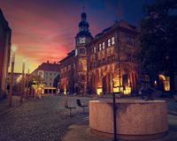 Stadt Nordhausen Rathaus with Roland figure in Germany. Stadt Nordhausen Rathaus sunset city hall with Roland figure in Thuringia Germany Stock Images
