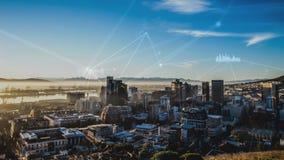 Stadt plus blauen Himmel und Verbindungen mit Daten vektor abbildung