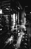 Stadt, Regen beleuchtet, Glas, Nacht Lizenzfreie Stockfotografie