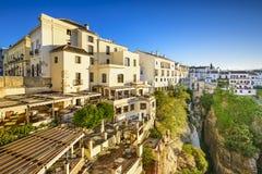 Stadt Rondas, Spanien Cliffside lizenzfreie stockbilder