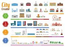 Stadt-Schöpfer-volle Sammlung mit 76 Elementen stock abbildung