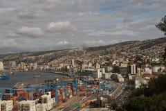 Stadt-Seehafen-Südamerika-Gebäude stockfotos