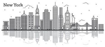 Stadt-Skyline Entwurfs-New York USA mit den modernen Gebäuden lokalisiert stock abbildung