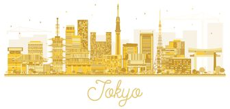 Stadt-Skyline-goldenes Schattenbild Tokyos Japan vektor abbildung