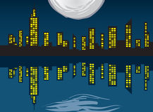 Stadt-Skyline mit Leuchten Stockfotografie